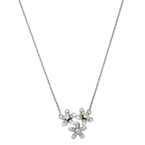 Van Cleef & Arpels Socrate 3 Flowers Diamond 18K White Gold Pendant Necklace