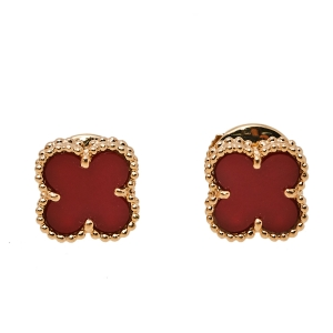 Van Cleef & Arpels Sweet Alhambra Carnelian 18K Rose Gold Stud Earrings