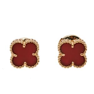 أقراط فان كليف & اربيلز سويت ألهامبرا مرصعة ذهب وردي عيار 18 عقيق أحمر