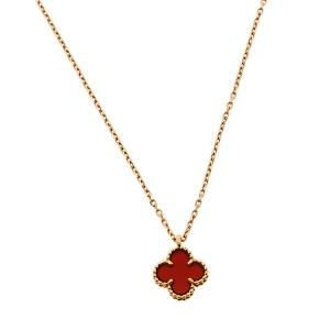 Van Cleef & Arpels Sweet Alhambra Carnelian 18K Rose Gold Pendant Necklace
