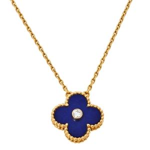 Van Cleef & Arpels Vintage Alhambra Lapis Lazuli Diamond 18K Yellow Gold Necklace