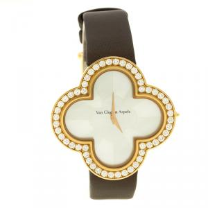 Van Cleef and Arpels Mother of Pearl Rose Gold Alhambra Talisman Women's Wristwatch 40 mm