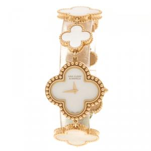 Van Cleef & Arpels Mother Of Pearl 18K Yellow Gold Vintage Alhambra Women's Bracelet Watch 26 mm