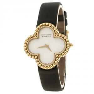 Van Cleef and Arpels Mother of Pearl 18K Yellow Gold Alhambra Vintage Women's Wristwatch 29 mm