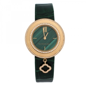 Van Cleef & Arpels Green Malachite 18K Rose Gold Diamond Charms VCARO8NR00 Women's Wristwatch 32 mm