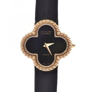 Van Cleef & Arpels Black Onyx 18K Yellow Gold Alhambra Women's Wristwatch 25 MM