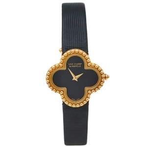 Van Cleef & Arpels Black 18K Yellow Gold Vintage Alhambra Quartz Women's Wristwatch 26MM