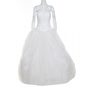 Vera Wang Off White Lace and Tulle Strapless Wedding Gown L - used