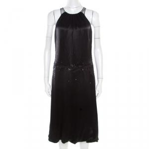 Vera Wang Black Embellished Satin Bod Detail Sleeveless Dress M - used