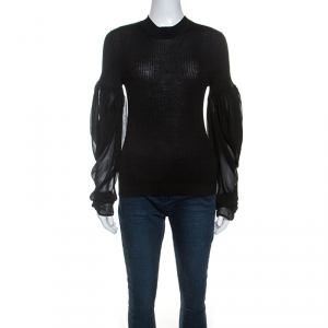 Vera Wang Black Silk Blend Rib Knit Top L
