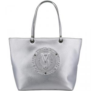 Versace Jeans Silver Faux Leather Shopper Tote