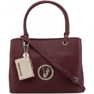 Versace Jeans Maroon Pebbled Leather Tote