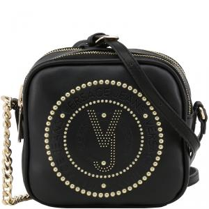 Versace Jeans Black Leather Crossbody Bag