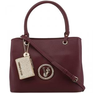 Versace Jeans Maroon Faux Pebbled Leather Tote