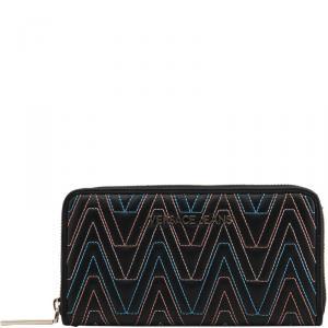 Versace Jeans Black Faux Leather Zip Around Wallet