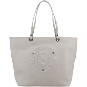 Versace Jeans Grey Faux Leather Logo Shopping Tote