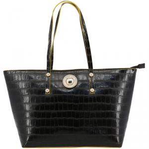 Versace Jeans Black Croc Embosed Faux Leather Shopping Tote