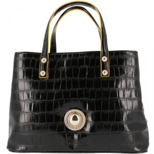 Versace Jeans Black Croc Embosed Faux Leather Tote