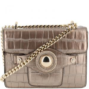 Versace Jeans Metallic Brown Croc Embossed Faux Leather Chain Crossbody Bag