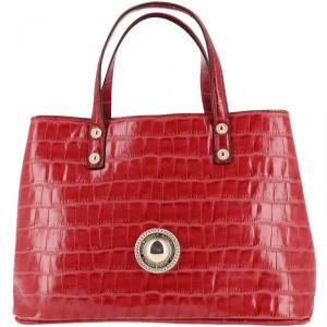 Versace Jeans Red Croc Embosed Leather Tote