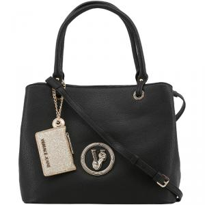 Versace Jeans Black Pebbled Faux Leather Tote