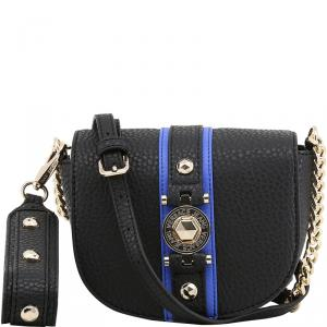 Versace Jeans Black Pebbled Faux Leather Chain Crossbody Bag