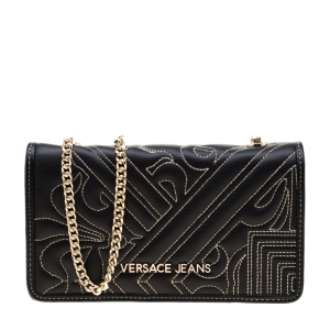 Versace Jeans Black Quilted Faux Leather Chain Clutch Bag