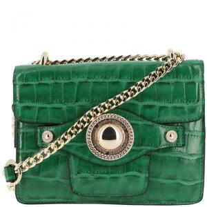 Versace Jeans Green Croc Embosed Leather Chain Crossbody Bag