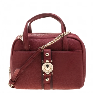 Versace Jeans Red Pebbled Faux Leather Satchel