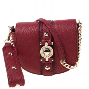 Versace Jeans Red Pebbled Faux Leather Chain Crossbody Bag