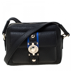 Versace Jeans Black Faux Pebbled Leather Crossbody Bag