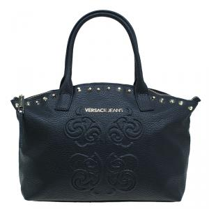 Versace Jeans Black Pebbled Leather Crystal Studs Shopping Tote
