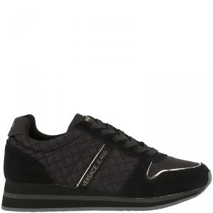 Versace Jeans Black Quilted Fabric and Suede Lace Up Sneakers Size 38