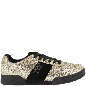 Versace Jeans Two Tone Glitter and Leather Lace Up Sneakers Size 37