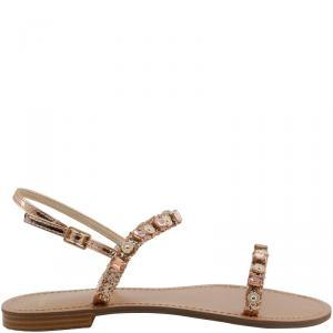 Versace Jeans Pink Embellished Crystals Flat Sandals Size 40