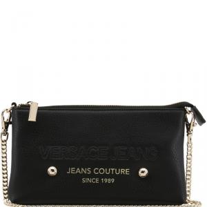 Versace Jeans Black Faux Pebbled Leather Chain Pochette Accessories