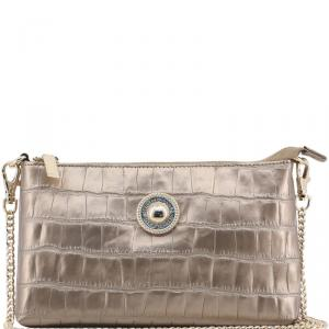 Versace Jeans Metallic Brown Faux Croc Embossed Leather Chain Pochette Accessories
