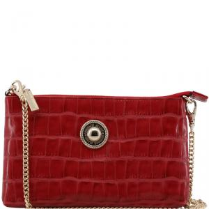 Versace Jeans Red Croc Embossed Leather Chain Pochette Accessories