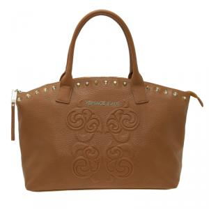 Versace Jeans Brown Pebbled Leather Crystal Studs Shopping Tote