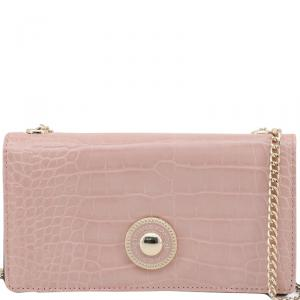 Versace Jeans Pink Embossed Synthetic Leather Clutch Bag