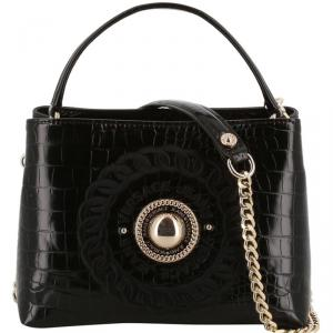 Versace Jeans Black Embossed Synthetic Leather Top Handle Bag