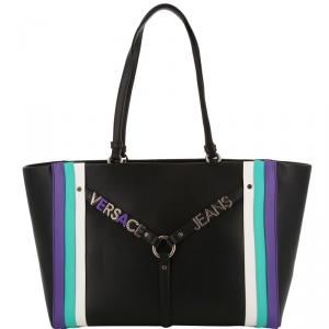 Versace Jeans Black Synthetic Leather Tote Bag