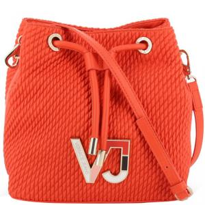 Versace Jeans Orange Signature Synthetic Leather Drawstring Shoulder Bag