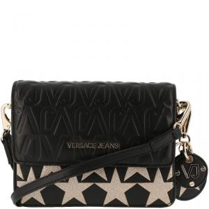 Versace Jeans Black Signature Faux Leather Star Clutch Bag