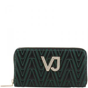 Versace Jeans Black Faux Signature Faux Leather Zip Around Wallet