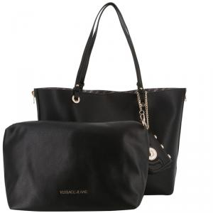 Versace Jeans Black Synthetic Leather Shopping Tote Bag