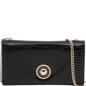 Versace Jeans Black Embossed Faux Leather WOC Clutch Bag