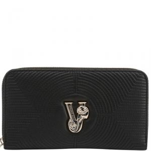 Versace Jeans Black Quilted Faux Leather Zip Around Wallet