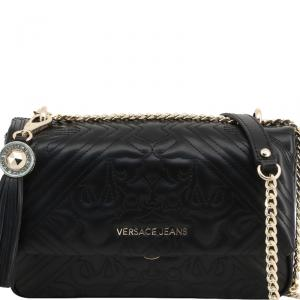 Versace Jeans Black Quilted Faux Leather Shoulder Bag