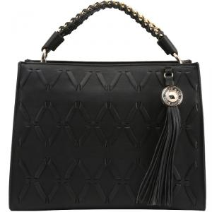 Versace Jeans Black Faux Leather Tassel Top Handle Bag